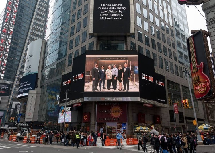 David Bianchi Featured in Times Square